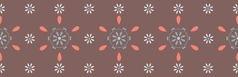 Geometryczni stokrotka kwiaty R?ka Rysuj?ca Bezszwowa wektor granica royalty ilustracja