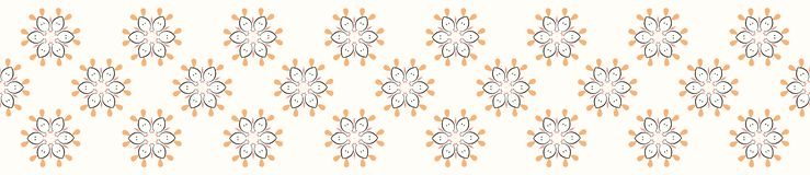 Geometryczni stokrotka kwiaty R?ka Rysuj?ca Bezszwowa wektor granica ilustracja wektor