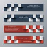Geometryczni wąscy horyzontalni sztandary z 3D skutkiem dla biznesowej strony internetowej Zdjęcia Stock