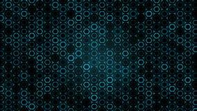 Geometryczny abstrakcjonistyczny futurystyczny zielony tło z sześciokątami z lekkimi promieniami ilustracji