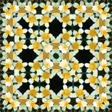 Geometryczny abstrakcjonistyczny poligonalny kwiatu kwadrata wzór w żółtym i białym, obrazek wiosna royalty ilustracja