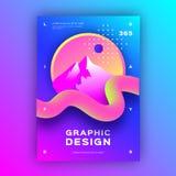 Geometryczny abstrakcjonistyczny tło, Ciekły tło, Gradientowy fluid kształtuje Modny graficznego projekta plakata A4 rozmiar, wek royalty ilustracja