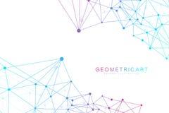Geometryczny abstrakcjonistyczny tło z związaną linią i kropkami Struktury komunikacja i molekuła Naukowy pojęcie dla royalty ilustracja