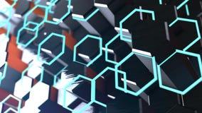 Geometryczny animacji tło z sześciokąta Abstrakcjonistycznym błękitem animacja iść bezszwowym royalty ilustracja
