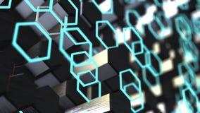 Geometryczny animacji tło z sześciokąta Abstrakcjonistycznym błękitem animacja iść bezszwowym ilustracja wektor