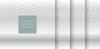 Geometryczny bezszwowy srebro wzoru tło Prosty wektorowej grafiki szarość druk Wielostrzałowy kreskowy abstrakcjonistyczny tekstu ilustracja wektor