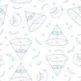 Geometryczny bezszwowy wzór, Memphis projekt, szkoła deseniuje motywy geometria i algebra również zwrócić corel ilustracji wektor Zdjęcie Stock