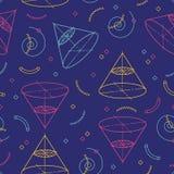 Geometryczny bezszwowy wzór, szkoła deseniuje motywy geometria i algebra Memphis projekt 80s 90s również zwrócić corel ilustracji Obrazy Royalty Free