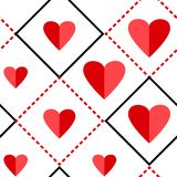 Geometryczny bezszwowy wz?r z kwadratami i czerwieni sercami r?wnie? zwr?ci? corel ilustracji wektora ilustracja wektor