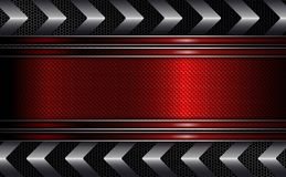 Geometryczny czerwony projekt z textured ramą, strzała kruszcowy odcień ilustracji