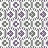 Geometryczny deseniowy wektor wzór jest Japoński deseniowy powtarzać z abstrakcjonistycznym Sakura kwiatem i liniowym sześciokąta royalty ilustracja