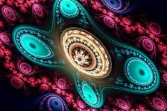 Geometryczny fractal kształt może ilustrować rojenie wyobraźni psychodelicznych astronautycznych sen wybuchu bomby atomowej częst Obraz Stock
