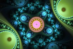 Geometryczny fractal kształt może ilustrować rojenie wyobraźni sen magii psychodelicznego astronautycznego wybuch bomby atomowej Zdjęcia Royalty Free
