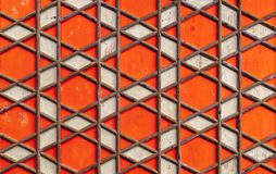 Geometryczny języka arabskiego wzór, czerwony drewniany sufit zdjęcie stock