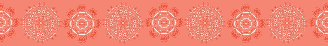 Geometryczny koralowy stokrotka kwiatu mandala R?ka Rysuj?ca Bezszwowa wektor granica royalty ilustracja