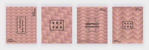 Geometryczny menchii pokryw projekt z złotymi liniami i trójboków kształtami Nowożytny tło dla ulotki, plakat, przyjęcie, ogólnos ilustracji