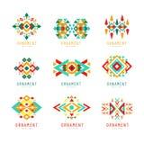 Geometryczny ornamentu set, abstrakcjonistycznych logów elementów kolorowe wektorowe ilustracje royalty ilustracja