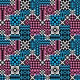 Geometryczny patchworku wzór w menchiach i błękicie Obrazy Royalty Free