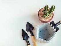 Geometryczny pentagonu betonu plantator z kaktusowym rośliny i ogródu narzędzia setem obrazy stock