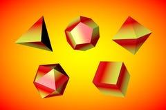 Geometryczny postać czworościan, sześciobok, ośmiościan, icosahedron i dodekaedr odizolowywający na kolorowym tle, royalty ilustracja