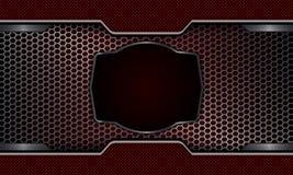 Geometryczny projekt z metalu grille i owal rama z obdzierganiem ilustracja wektor