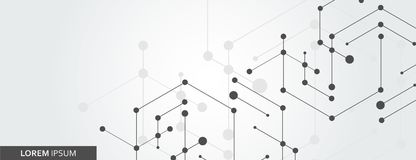 Geometryczny sześciokąt łączy z związaną linią i kropkami Prosty technologii grafiki tło wektorowy sztandaru projekt royalty ilustracja