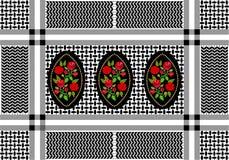 Geometryczny tekstylny druk z kwiecistymi adamaszkowymi elementami ilustracja wektor