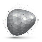 Geometryczny wektorowy abstrakt 3D komplikował kratownica przedmiot, pojedynczego Obrazy Stock