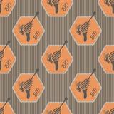 Geometryczny wzór na temat pszczół i miodu royalty ilustracja