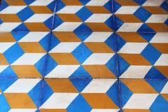 Geometryczny wzór w błękicie i pomarańcze Zdjęcia Royalty Free