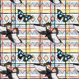 Geometryczny wzór z motylami Wielostrzałowy wzór - dekoracyjny ornamentacyjny projekt akwarela Zdjęcia Stock