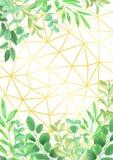 Geometryczny Złocisty tło z Greenery Fotografia Royalty Free