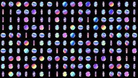 Geometryczny zapętlający wzór z płodozmiennymi holograficznymi okręgami dla abstrakcjonistycznego dyskoteki tła Zap?tlaj?ca 4K ru royalty ilustracja