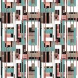 Geometrycznych abstrakcjonistycznych elementów bezszwowy deseniowy retro tło Obrazy Stock