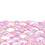 Geometrycznych abstrakcjonistycznych skal natury prosty tło z azjata fali okręgu wzoru menchii purpurowych kolorów sztandaru karc ilustracja wektor