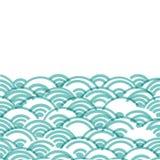 Geometrycznych abstrakcjonistycznych skal natury prosty tło z azjata fali okręgu wzoru zieleni cyraneczki błękitnych kolorów szta ilustracja wektor