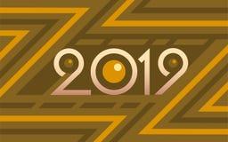 2019 geometrycznych liczb na kolorowym żółtym wektorowym tle ilustracja wektor