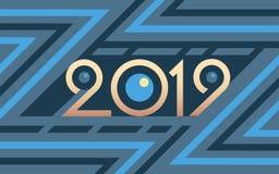 2019 geometrycznych liczb na kolorowym błękitnym wektorowym tle ilustracja wektor