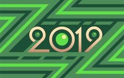 2019 geometrycznych liczb na kolorowym zielonym wektorowym tle ilustracja wektor
