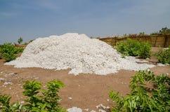 Geoogst katoen die omhoog in traditionele rietstockage onder de blauwe Afrikaanse hemel in Benin worden opgestapeld stock fotografie
