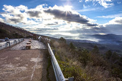 Geopark landscape and road, Caceres, Spain Royalty Free Stock Photo