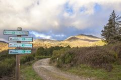 Geopark Way signpost at Villuercas, Spain Stock Image