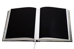 Geopend afgedrukt boek met duidelijke zwarte royalty-vrije stock foto