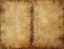 Geopend boek donker bevlekt document Royalty-vrije Stock Afbeeldingen