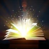 Geopend Boek met Magische Lichten Stock Fotografie