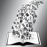 Geopend boek met vliegende brieven Royalty-vrije Stock Afbeelding