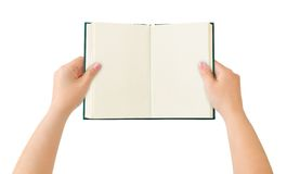 Geopend boek in handen Royalty-vrije Stock Fotografie
