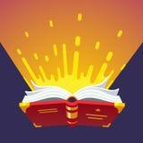 Geopend gloeiend magisch boek stock illustratie