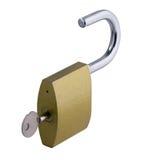 Geopend hangslot met sleutel Royalty-vrije Stock Foto