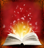 Geopend magisch boek met magisch licht en vlinder Stock Foto